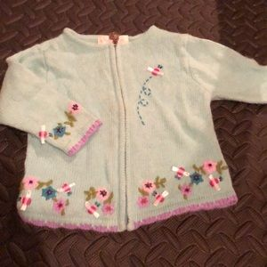 Euc 12 month blue floral sweater. Bees and flowers